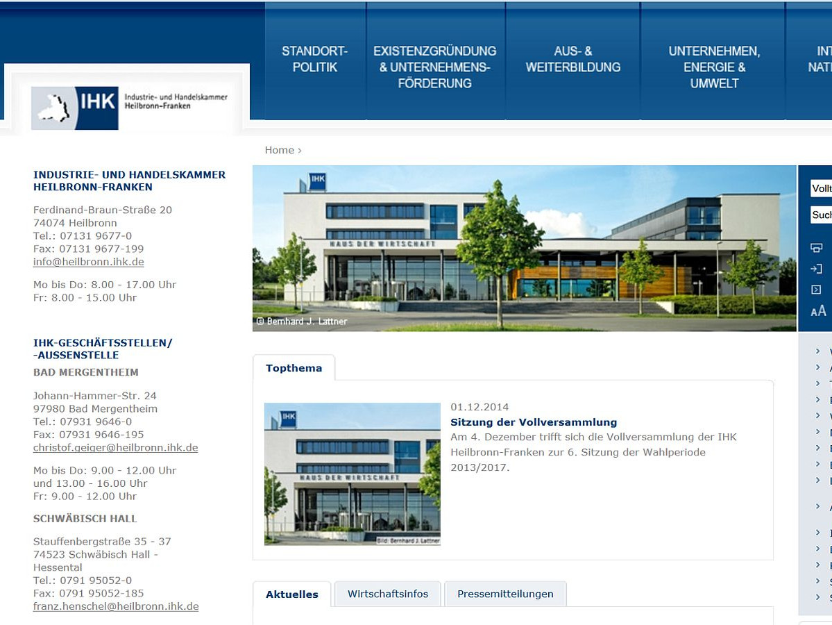 Screenshot Homepage IHK