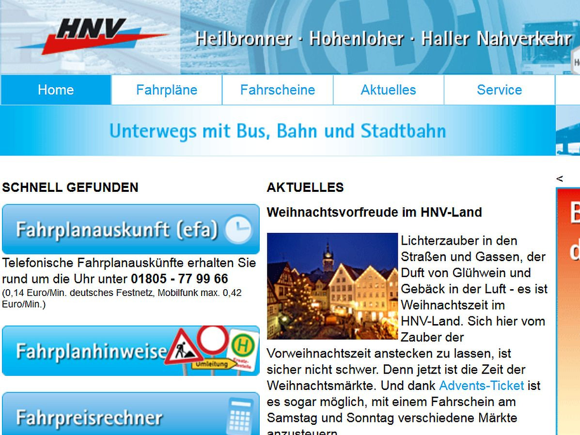 Screenshot Homepage HNV